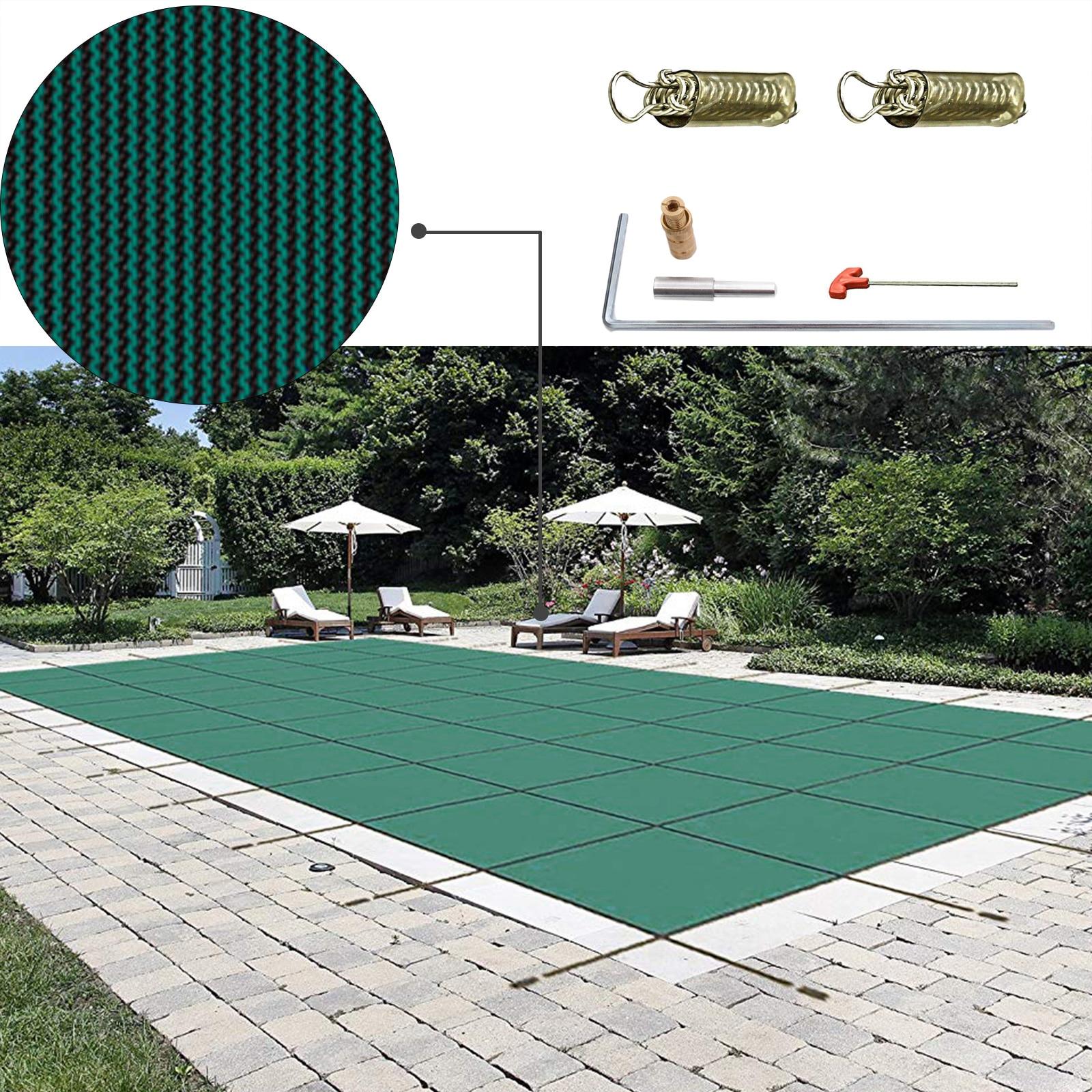 VEVOR غطاء حماية بركة مستطيل inland غطاء حمام سباحة الأخضر شبكة الصلبة غطاء حماية بركة للشتاء سلامة غطاء حوض السباحة غطاء حمام سباحة