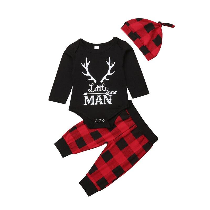 2019 bebé niña otoño invierno Navidad ropa de Navidad de manga larga mameluco + Pantalones de impresión a cuadros sombrero conjunto 3 piezas conjunto de ropa de bebe nina