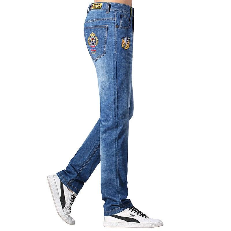 بنطلون جينز رجالي ، قطن مطاطي ، تصميم تطريز ، مستقيم ، غير رسمي ، عصري ، صيفي