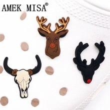 Originale 1 pz PVC Charms scarpa renna wildebeest cranio scarpe accessori Croc Charms JIBZ scarpa decorazione per ragazze regali per bambini