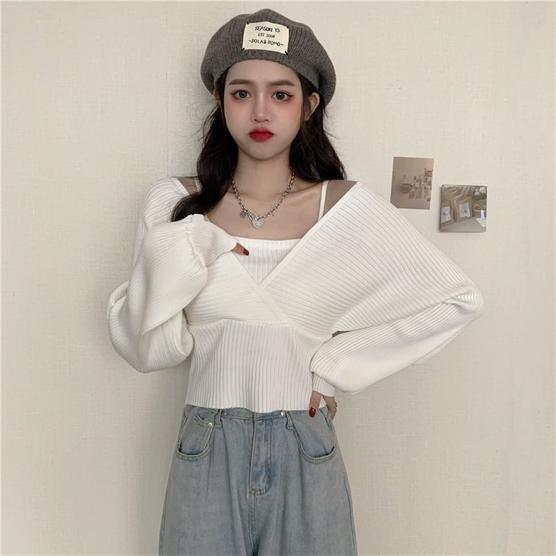 knitted checked tank top Bottoming Knitted Sweater Tank Top Square Neck Casual Solid Women Thin Camisole Short Crop Top Fake Two-Piece