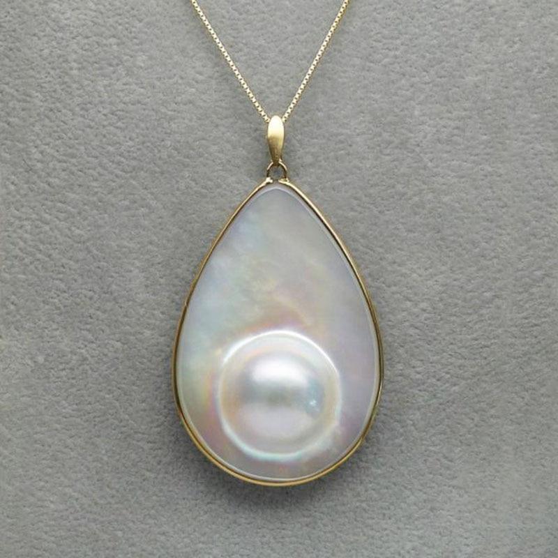 18 К желтое золото большой настоящий белый культивированный блистер Mabe жемчужное ожерелье 43 мм