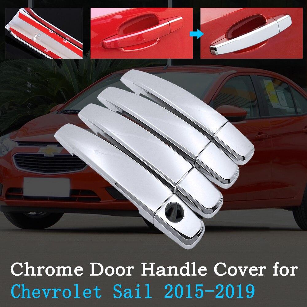 Chrome Car Door Handle Cover for Chevrolet New Sail 2015~2019 Nuevo Sail Trim Set 4Door Exterior Car Accessories 2016 2017 2018