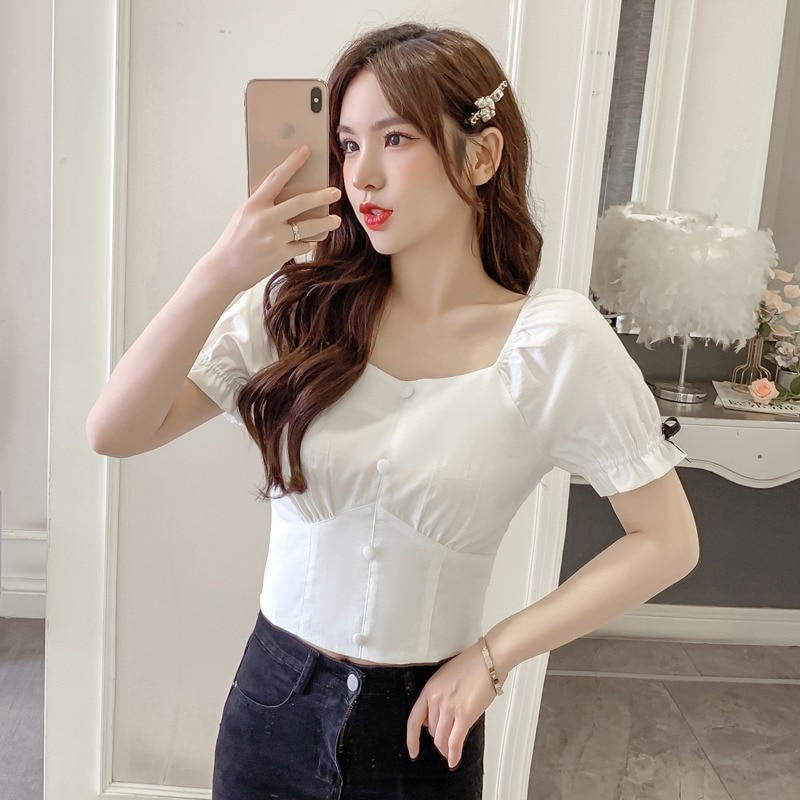 French Style Square Collar Short Sleeve Shirt for Women 2021 Summer New Elegant Slim Fit Small Shirt