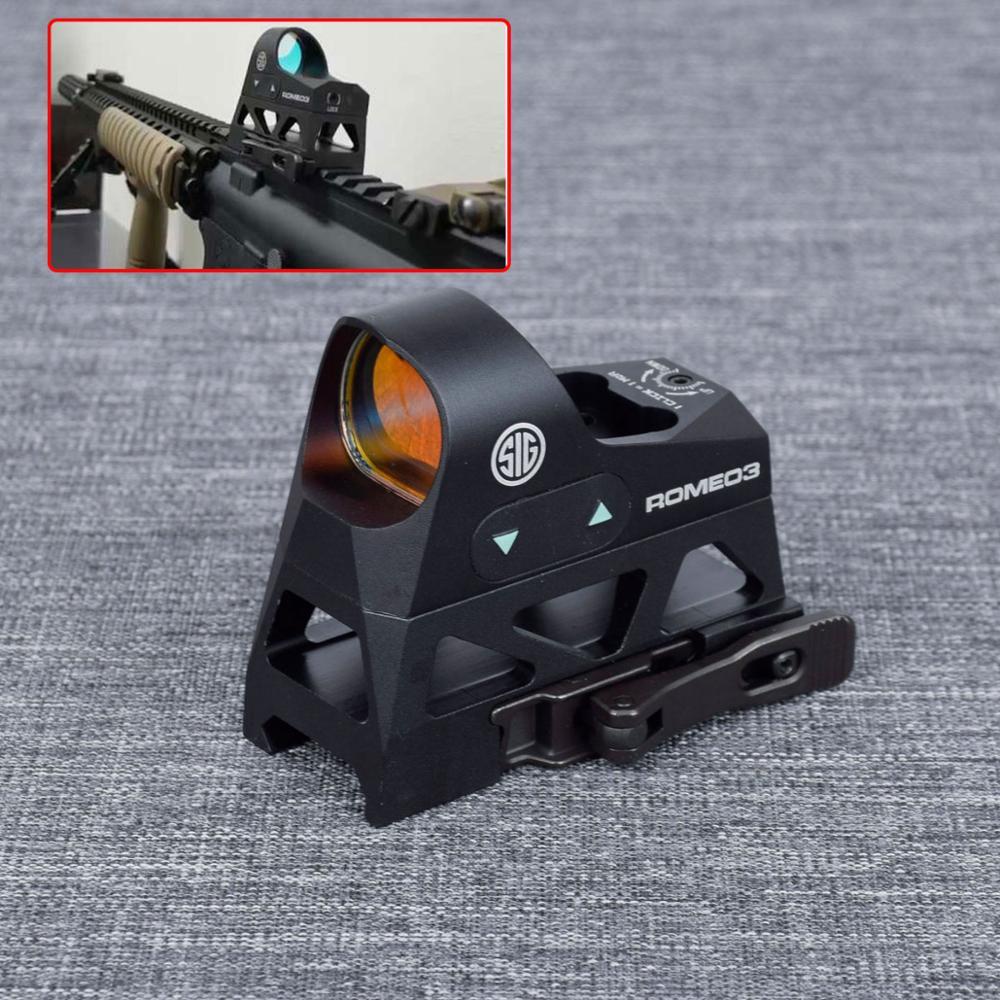 ROMEO3 1x25 Mini reflejo vista 3 MOA Dot retícula Vista de punto rojo alcance Picatinny QD para montaje en Rifles y carabinas con 20mm