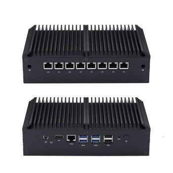 Qotom Fanless Mini PC Core i3 i5 i7 Q800GE with 8 Lan,4USB3.0 2USB2.0,RJ45 COM VPN Gateway Firewall Mini Computer