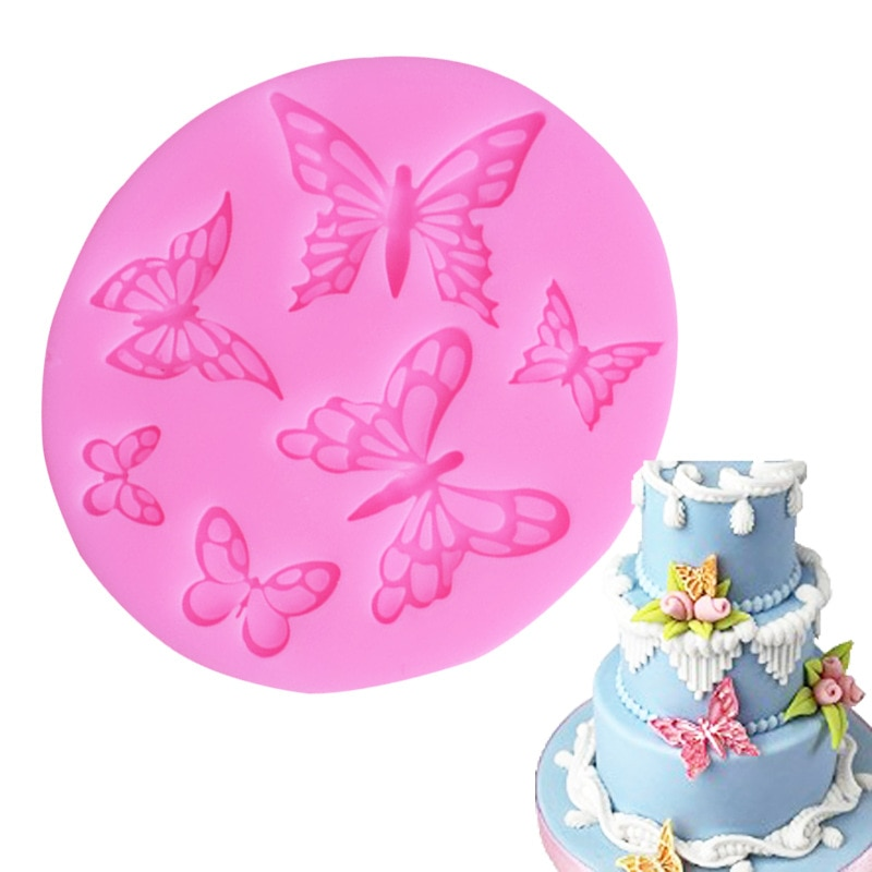 Pink Butterfly Fondant Cake Silicone Mold Biscuits Pastry Mould Ice cube Chocolate Candy Molds Cake Decoration Baking Tools new silicone animal 3d mold unicorn shape ice cube candy chocolate cake cookie cupcake molds soap mould baking pan pastry tools