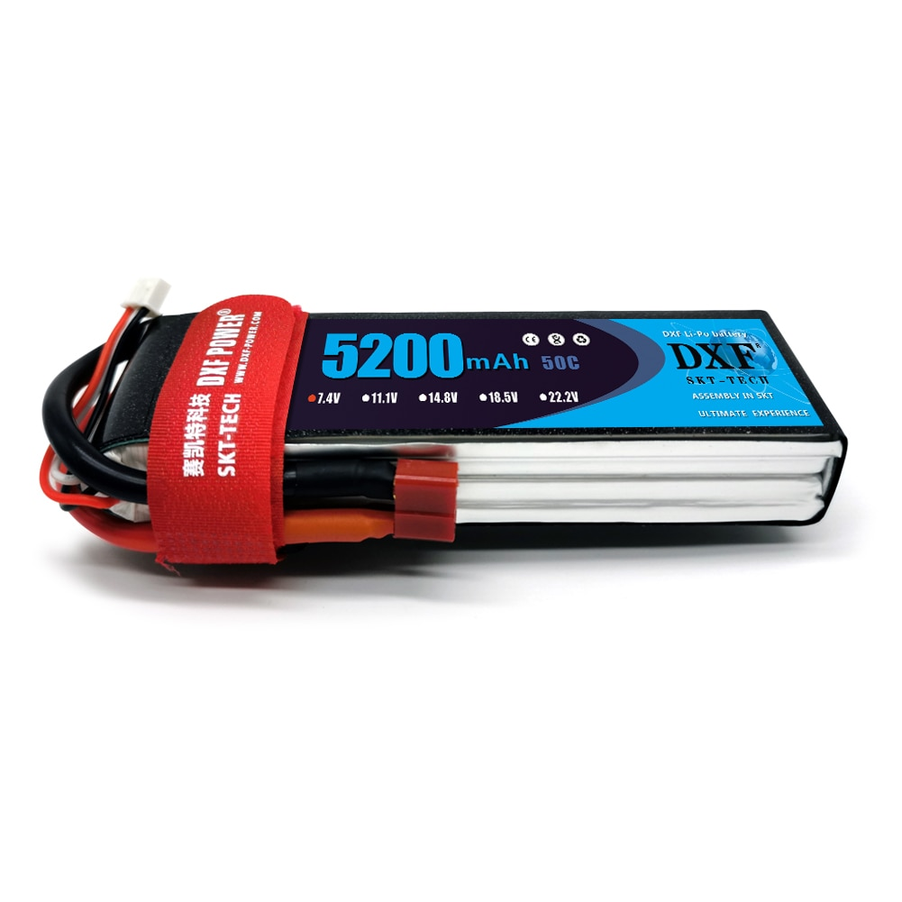 DXF LiPo Battery 2S 3S 4S 6S 7.4V 11.1V 14.8V 22.2V 5200mAh 50C with T Plug For FPV 450 500 RC Helicopter Boat TRXX Car enlarge