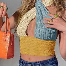 Knit Halter Fungus Patchwork Hollow Out Women Tank Sleeveless Backless Sexy Female Crop Tops Slim St