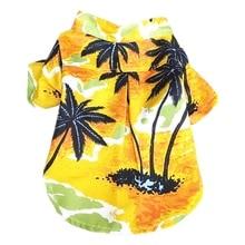 Pet Dog T-shirt Hawaii Beach Style Coconut Tree Patterns Print Shirt Coats Puppy Overalls Thin Short Sleeve Costumes
