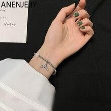 ANENJERY – Bracelet à pendentif en forme de queue de poisson en argent Sterling 925 pour femmes, délicat bijou en Zircon cubique, queue de sirène, S-B432