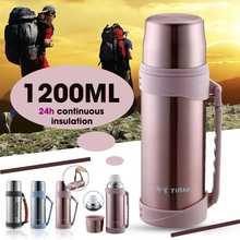 1200ML 24Hrs gardant au chaud lacier inoxydable Thermos Portable flacon à vide isolé en plein air Camping voyage Thermo bouteille