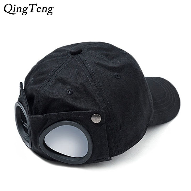 Gafas de piloto, gorra de béisbol negra, gorra reversible para hombre, gorra Snapback estilo Hip Hop para mujer, gorra deportiva a prueba de viento para papá
