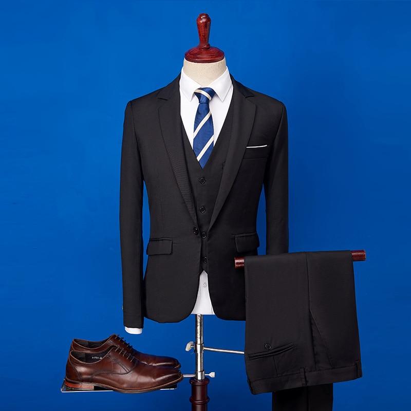 2020 الرجال السود البدلة 3 قطع مجموعة واحدة زر شقة سليم صالح عارضة البدلات الرسمية ل الزفاف حفلة موسيقية (سترة + سروال + سترة) زي أوم