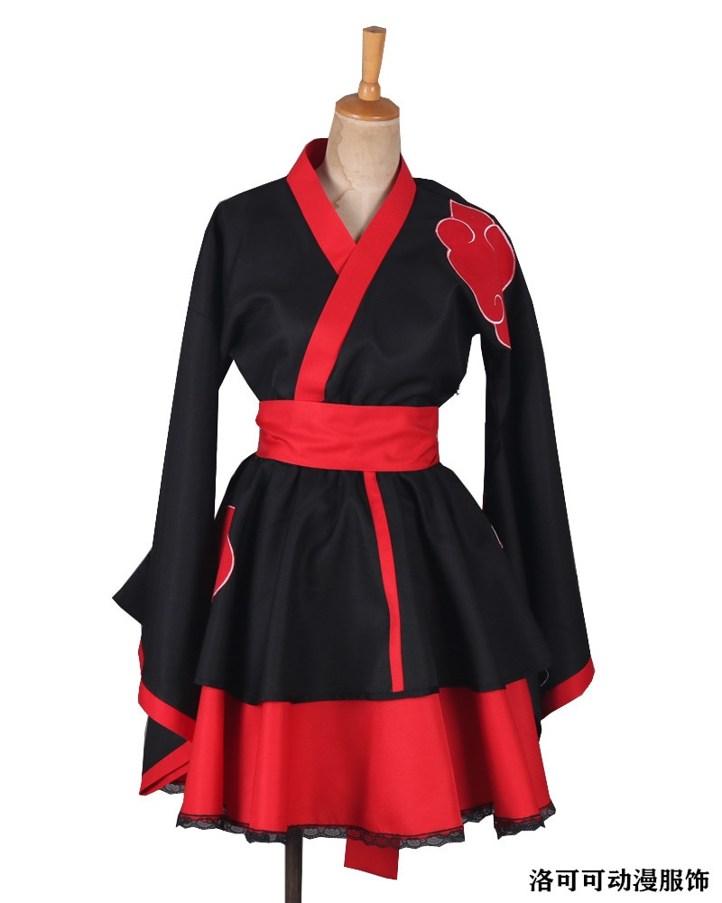 ¡Caliente Anime! Naruto-Shippuden, miembro de akatsuki, disfraces de Cosplay, la versión femenina, Kimono Lolita, vestido para juego de rol, ropa de utilería