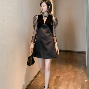 2021Fashion  OL Ladies Stand Collar Sexy Black Elegant Mesh Dress Women Casual Long Sleeve Slim Evening Party Dress