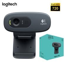 Logitech C270 HD Webcam dahili mikrofon USB 2.0 arayüzü kamera ağ Video konferans geniş açı Video 720P dizüstü bilgisayar