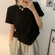 Tshirt Large Size Solid Color Design Twisted Round Neck Short Sleeve Irregular Short T-shirt For Plu