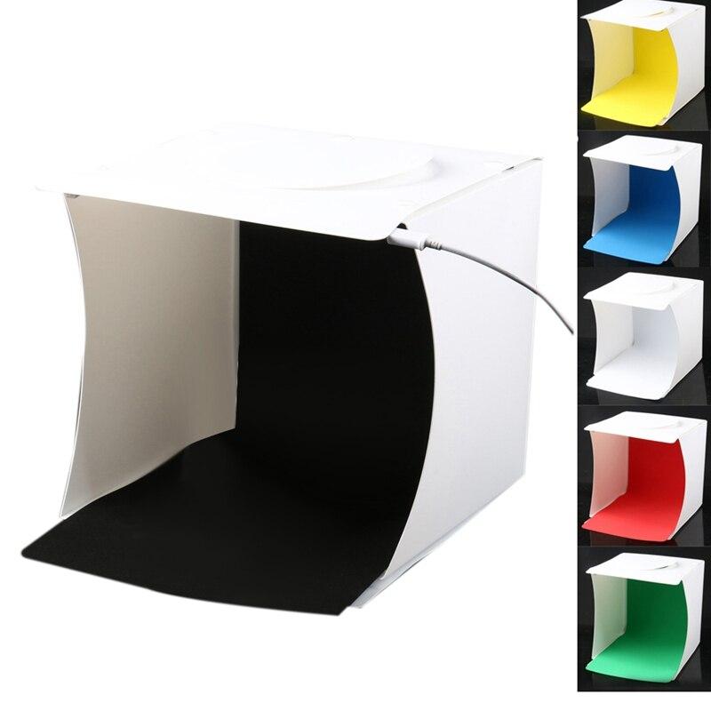 Mini Photo Studio Box, 8.9 X 9 X 9.5 Inch Portable Photography Light Tent Kit, White Folding Lighting Softbox With 40 Led Lights
