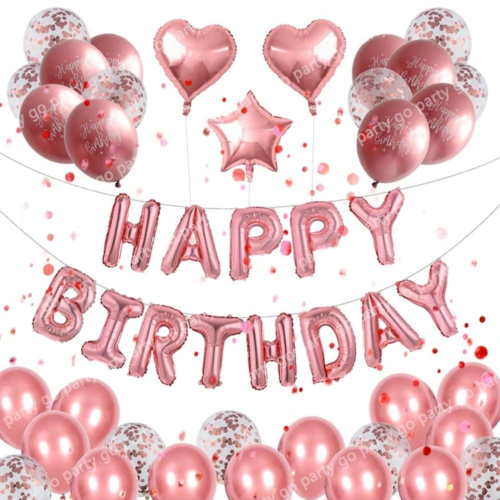 50pcs/Set Rose Gold Happy Birthday Balloons Metallic Confetti Latex Globos Kids Birthday Party Decorations Baby Shower Supply