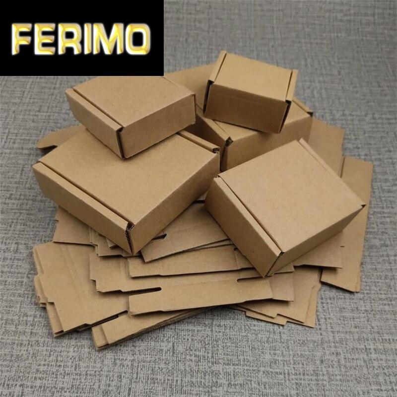 20 pces 12x12x1.9cm liso kraft corrugado caixas de correio engrossado marrom caixa de aeronaves transporte expresso caixa de embalagem ondulada