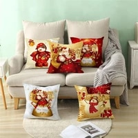 cushion cover soft christmas cartoon pattern polyester peach skin practical skin friendly throw pillow case for office sofa
