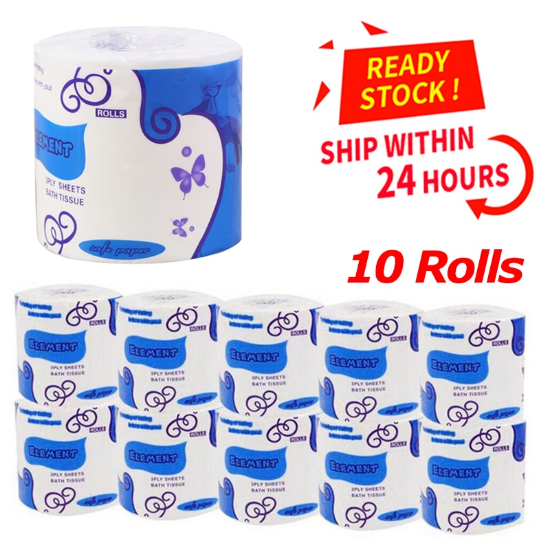 10 rollos de papel higiénico de 3 capas para baño, cocina, hogar, sala de estar, suministros de fiesta, papel higiénico práctico desechable