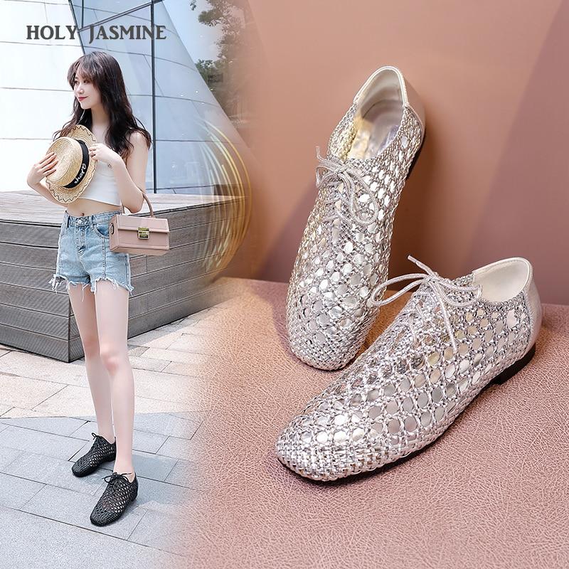 2021 جديد الربيع الصيف حذاء كاجوال للمرأة شقة لينة أسفل حذاء كاجوال تنفس شبكة أحذية امرأة الموضة مضفر الأحذية