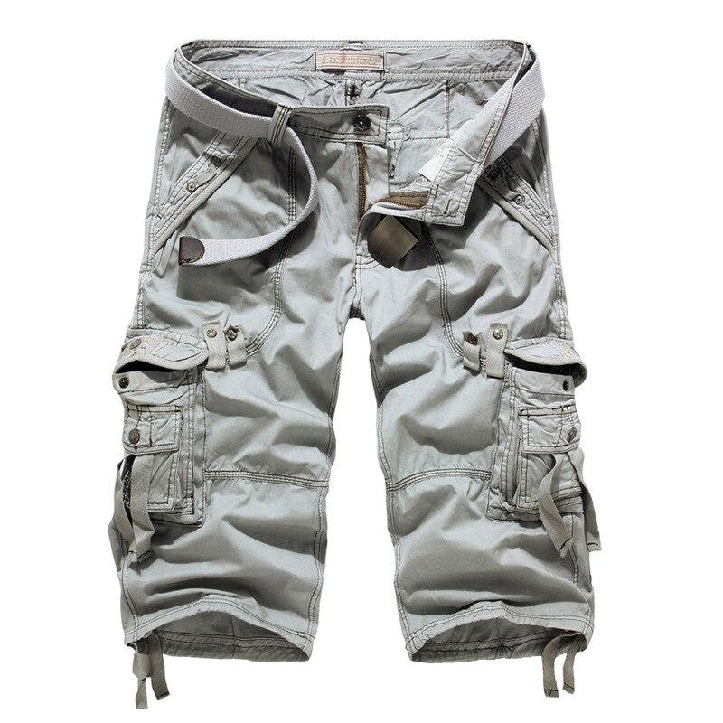 Летние Шорты-карго 2021, мужские повседневные тренировочные шорты в стиле милитари, мужские короткие штаны до щиколотки со множеством карман...