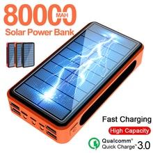 80000mah Portable Solar Power Bank External Charger Fast Charging PoverBank 4 USB LED External Batte