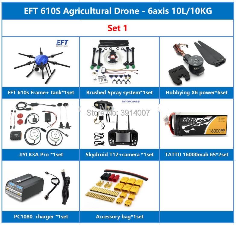 EFT E610S 10L 10KG aerosol agrícola de drone + JIYI K3A Pro + Skydroid T12 + TATTU 16000mah 6S + X6 potencia + PC1080 conjunto completo