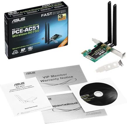 ASUS PCE-AC51 AC750 PCIe WiFi Adapter Card for Dual-Band 2x2 802.11AC Wireless Adapter,  speeds up to 750 Mbps