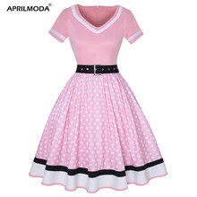 Plus Size Vrouwen Polka Dot Print Vintage Jurk V-hals Korte Mouw Riem Hepburn Jurk Sweetheart Pin Up 50 S Party jurken Vestido