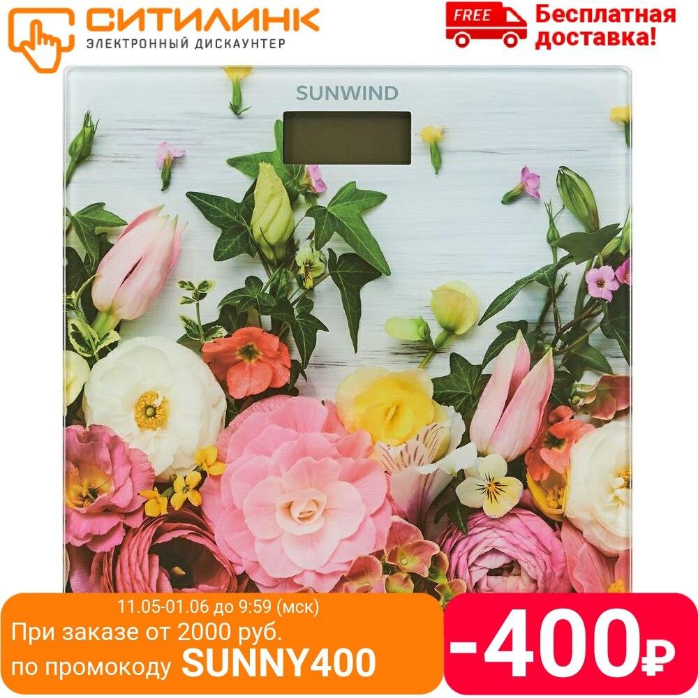Напольные весы SUNWIND SSB050, до 180кг, цвет: рисунок