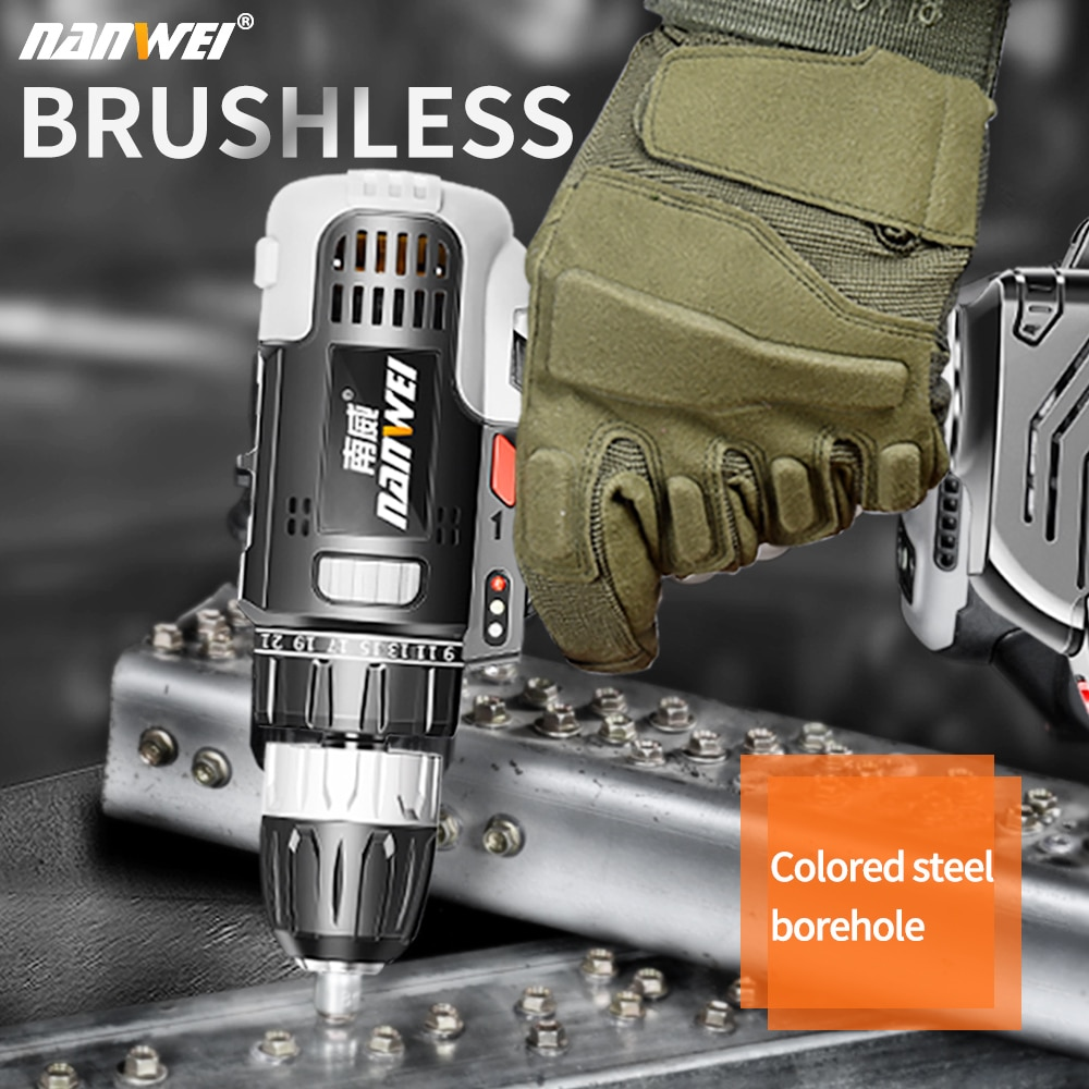 21V brushless cordless dirll Drilling wall Super torque DIY Fitting tool