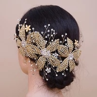 trixy h252 g luxury gold wedding alloy flower headpiece bride tiara rhinestone bridal hair ornaments wedding headband for women