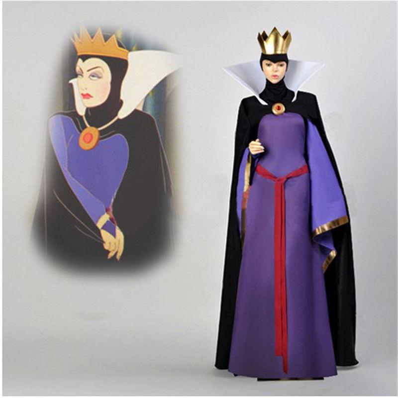 Neve branca má rainha madrasta traje vestido outfit halloween cosplay adulto com coroa frete grátis