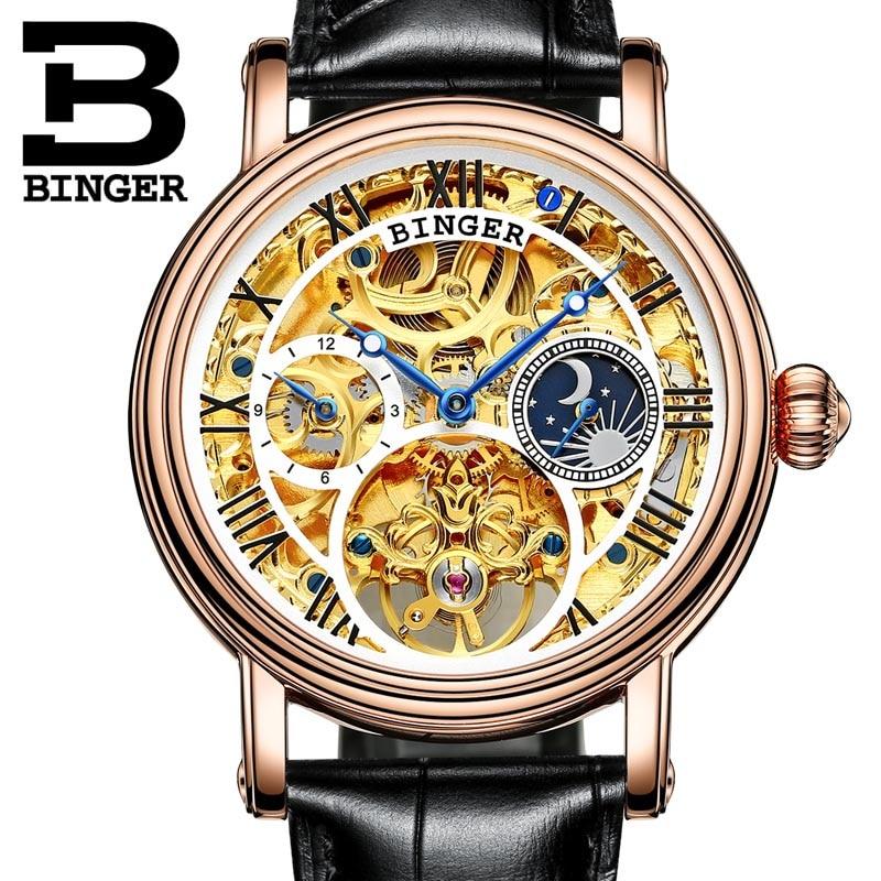 Switzerland BINGER men's automatic watch luxury brand Clock Relogio Masculino water resistant skeleton Mechanical Wristwatches