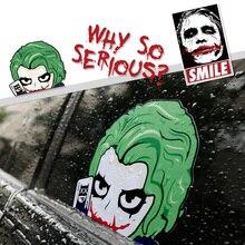 Noizzy Joker dlaczego tak poważny samochód Auto Batman winylowa tablica naścienna naklejka filar C krew Ipad wystrój okna samochodu Cartoon Car Styling