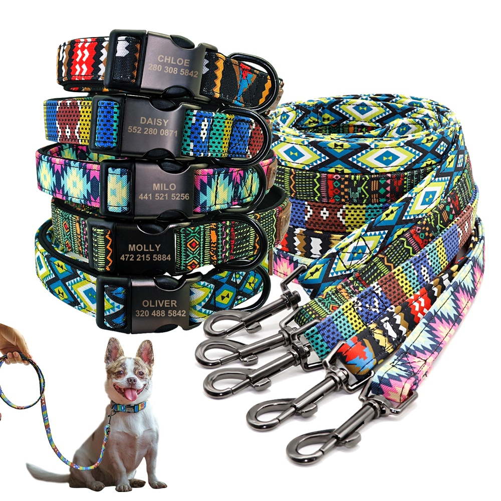 Custom Dog Collar Personalzied Nylon Pet Dog ID Tag Collars Engraved Printed Puppy Collar Leash For Small Medium Large Dogs personalized dog collar nylon print dog collars customized puppy pet collar engraved name id for small medium large big dogs pug