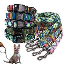 Custom Hond Kraag Personalzied Nylon Pet Dog Id Tag Kragen Gegraveerd Gedrukt Puppy Kraag Leash Voor Small Medium Grote Honden
