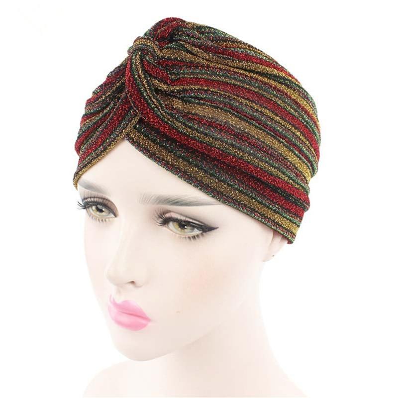 A moda coringa brilho muçulmano listrado turbante boné 2 cores chapéu indiano para mulher 101