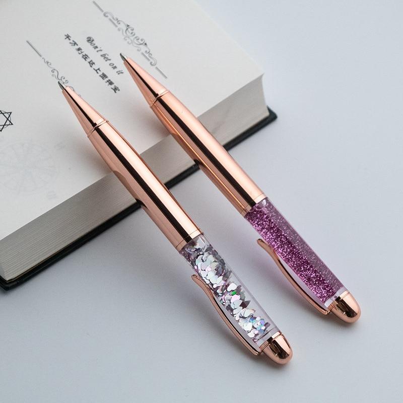 New metal ballpoint pen quicksand sequin signature pen business office gift pen недорого