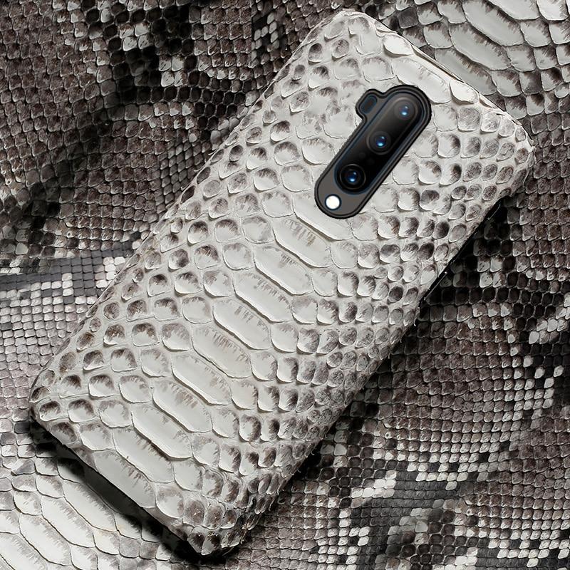 Funda de teléfono de piel auténtica de pitón para Oneplus 7T 7 Pro 6 6T 7TPRO 8 pro, funda negra de piel de serpiente de lujo para One Plus 7T Pro 5 5T 7