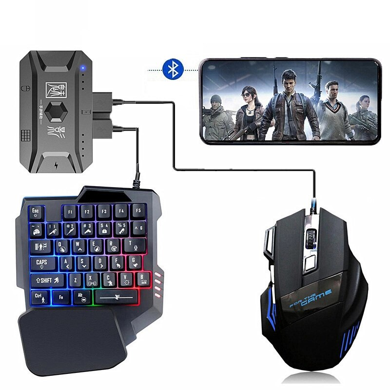 Plug and Paly Gamepad PUBG Mobile Controller Gaming Keyboard Mouse Converter for Android Phone Adapter for IOS Support Bluetooth
