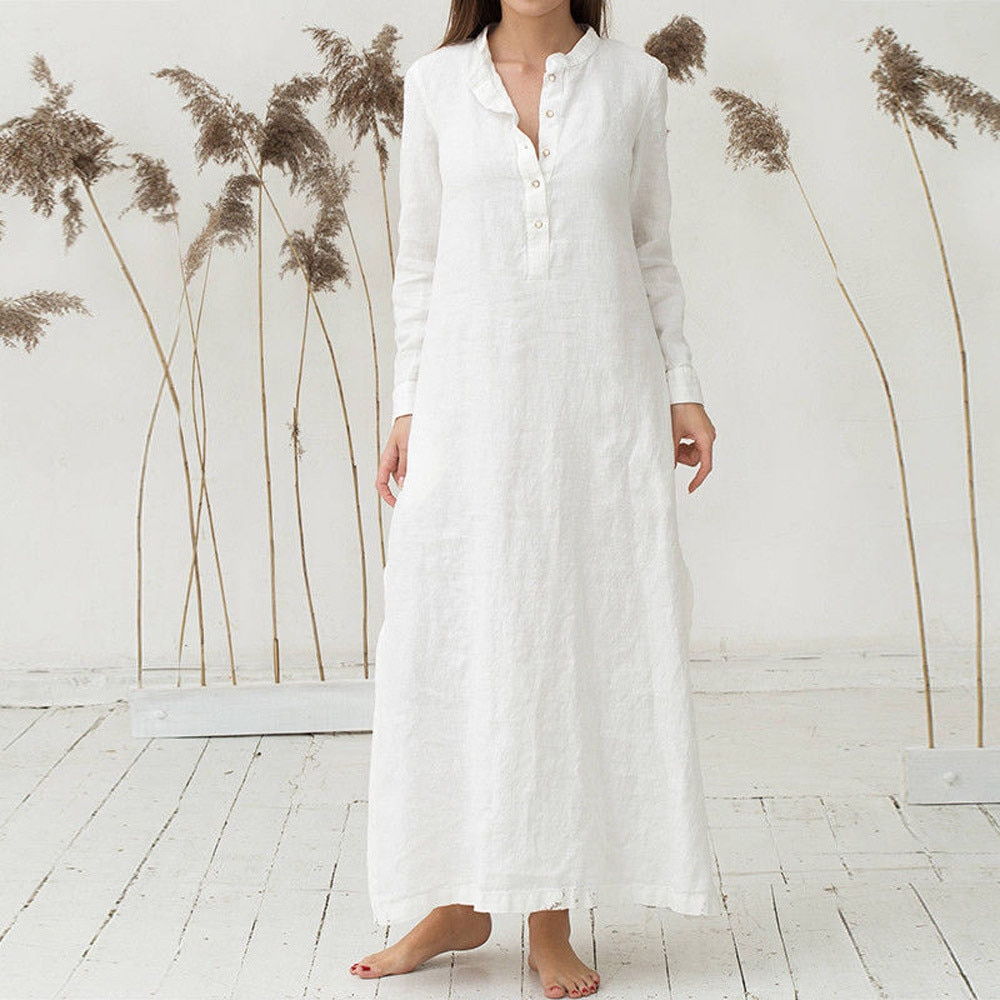 Vestido elegante blanco vestido de mujer caftán de algodón de manga larga liso informal Oversized Maxi vestido de camisa Plus Maxi DressKleider Damen