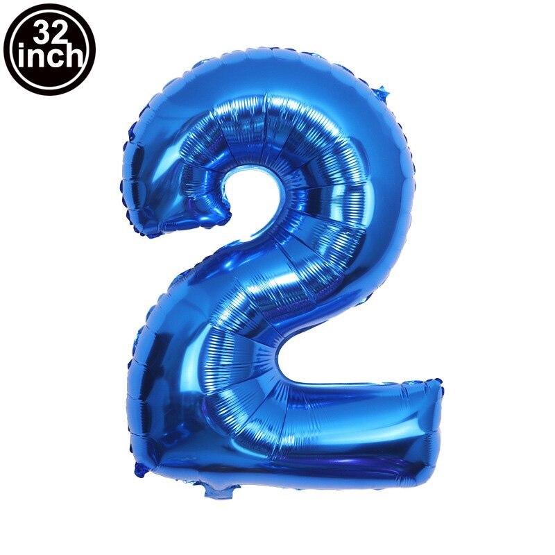 Синие большие воздушные шары с цифрами воздушные шары-фигурки дюйма для дня рождения, воздушные шары для океанской вечеринки, большие цифры...