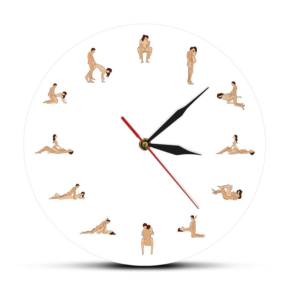 Relógio de parede com 12 posições sexy 24 horas, relógio adulto erótico com estampa sexy para casal amante