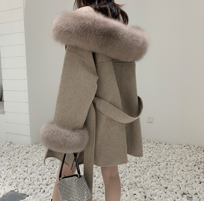 2021  Cashmere Blend Coat women Winter Wool Hooded Cardigan jacket With Genuine Fox Fur Collar Droppshiping snap button hooded drop shoulder wool blend coat