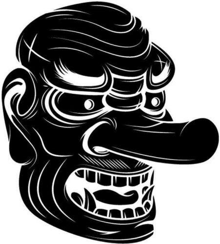 Máscara Tengu para ordenador ventana camión parachoques vinilo pegatina